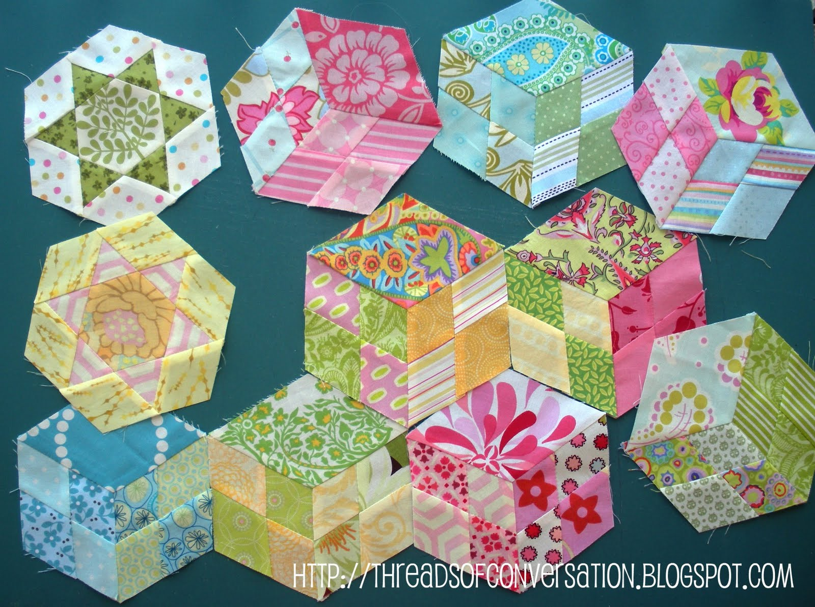 hexagon quilt template plastic - hexagons made by a brunnette page 2