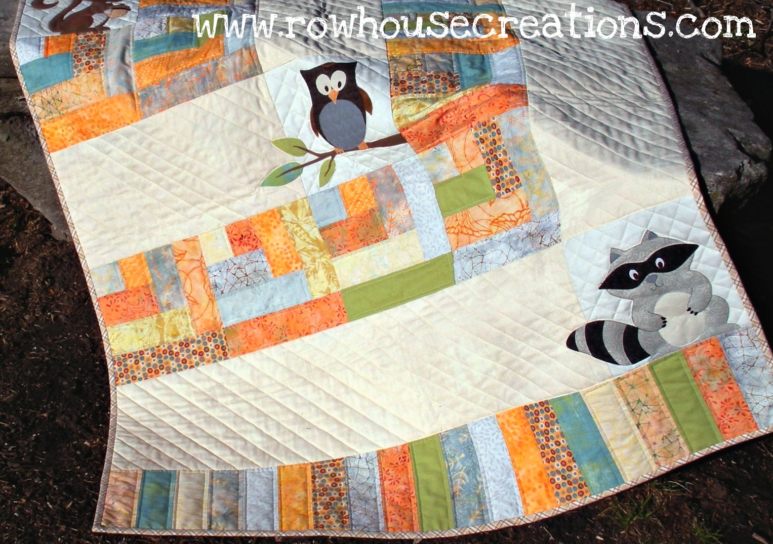 One big cabin is here row house creations for Modern house quilts