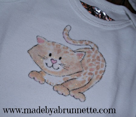 Painted Cheetah Cat On Onesie