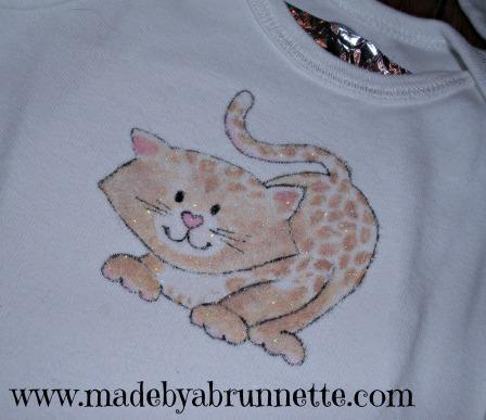 Painted Cheetah Cat On Onesie