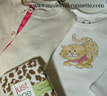 Baby Cheetah Applique Onesie and sweater