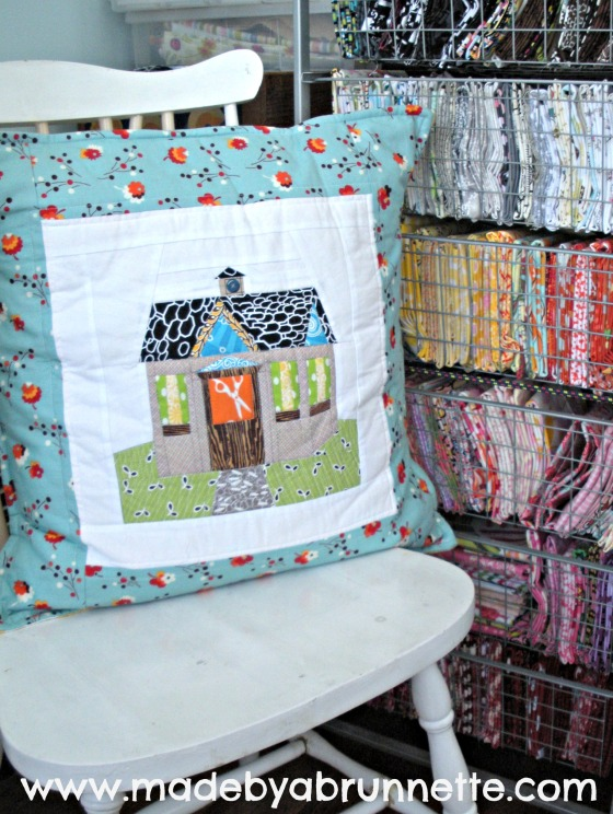 Sewing Quilting Studio Paper Pieced House Pillow Detail
