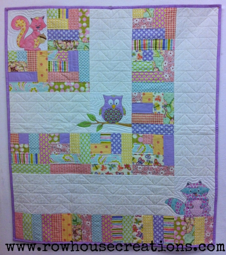Lavender One Big Cabin Girl Quilt Racoon, Owl Squirrel Baby Quilt